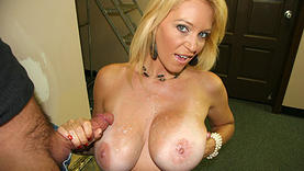 big tits blonde milf doing handjob