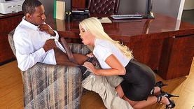 big tits blonde slut gets black cock