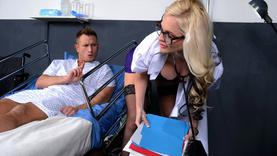 big tits blonde milf makes handjob with doctor