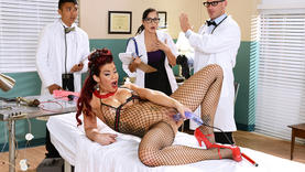 big tits red head whore with doctor