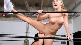 shaved milfs blow cock in the gym