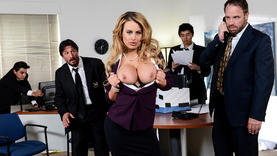 blonde slut fucking like dogs in the office