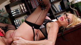 granny in hot lingerie gets cum on her face