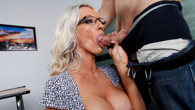 blonde whore in glasses swallow cock