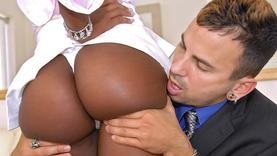 ebony slut plays with her pussy