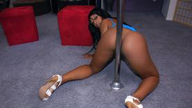 ebony girl in sexy lingerie gives a good blow job outside