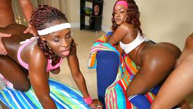 oiled ebony getting group sex outside