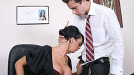 amazing black hair milf on work